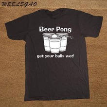 T Shirts Brand Clothes O-Neck Short Sleeve Beer Pong Get Your Balls Wet Funny Drinking Game College New Style Tee Shirt For men