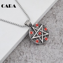 Men's Five-Pointed Star Pendant steel Necklace Blue rhinestones Pentagram Jewelry necklace for women 27'' popcorn chain CAGF0037(China)