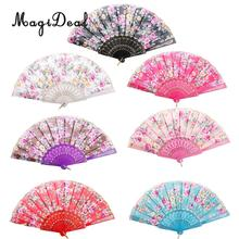 MagiDeal Chinese Japanese Fans Classical Fower Polyester Fabric Hand Fan Plastic Folding Purse Wedding Party Favors Gifts