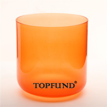 Buy TOPFUND Orange Color Clear D# Note Sexual Chakra Quartz Crystal Singing Bowl 6'' Free Mallet O-Ring