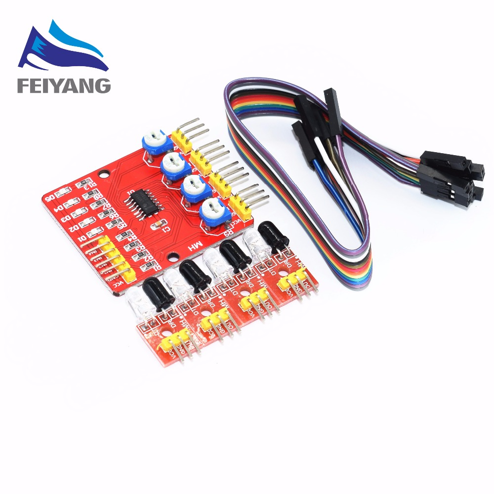 10pcs SAMIORE ROBOT 4 Channel Infrared Detector Tracked Photoelectricity Sensor For Smart Car/ Robot 1