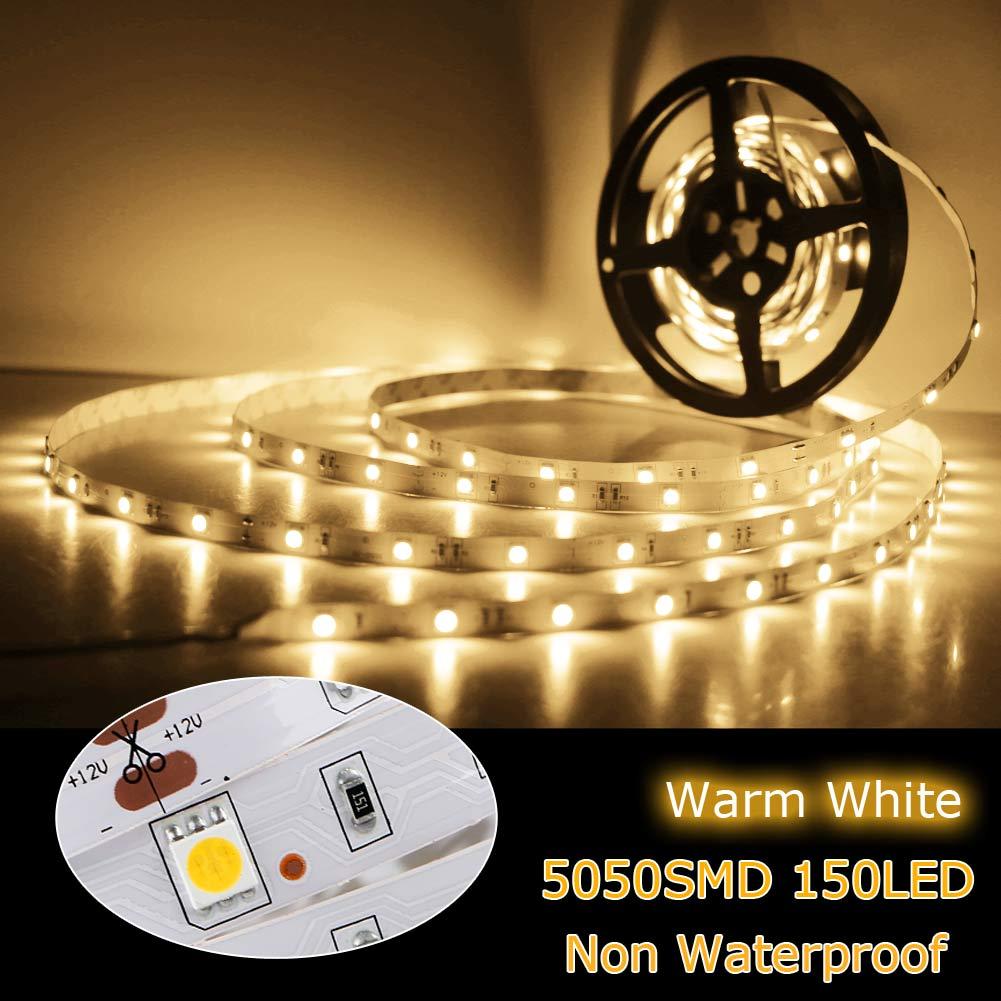 Flexible 5M DC 12V LED Strip Light 150led/300led 5050 2835 3528 Non Waterproof Strip Lamp For Home Christmas Decor