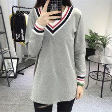 50 wholesale spring New pattern high quality Large size Ladies Long sleeved T-shirt Korean V. Fashion simplicity style  women