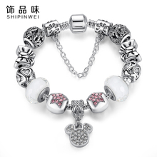 Women Bracelet Unique Silver Plated Jewelry Crystal Mickey Charm Bracelets Bangles for Women with Murano Glass Bead Bracelet(China)