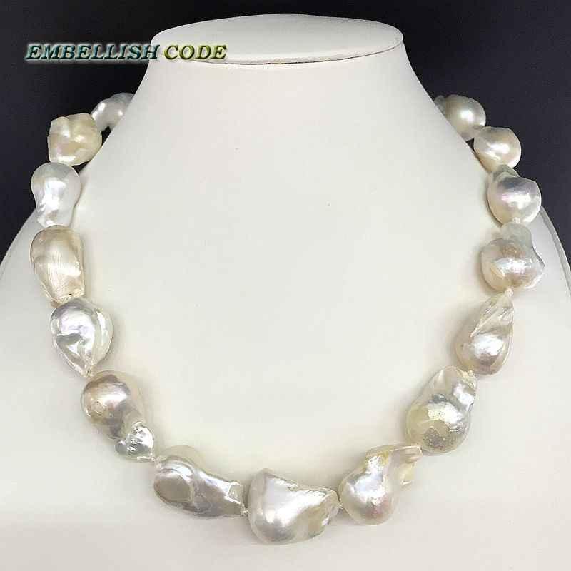 55ccb40fab47 Detalle Comentarios Preguntas sobre Vendiendo bien blanco color de gran tamaño  tejido nucleated llama bola forma barroco collar de perlas de agua dulce  100% ...