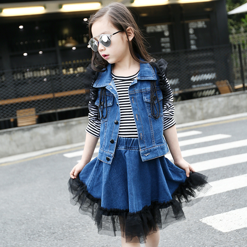 Childrens Garment 2017 New Pattern Girl Three-piece Vest Stripe T-shirts Cowboy Parachute Skirt Suit 3 Pieces<br>