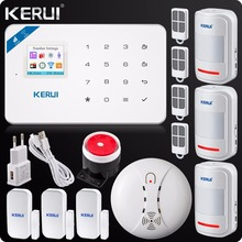 2017 W18 WIFI GSM SMS Home Burglar LCD GSM SMS Touch Screen Alarm Panel Home Security Alarm System+Wireless Smoke Detector(China)