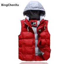 Men Waistcoat Brand Vest Male Hooded Fashion Outerwear Leisure Fashion Slim Casual Men Winter Coat Warm Sleeveless Jacket 383(China)