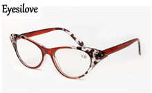 Eyesilove retail plastic reading glasses for women cat-eye shape presbyopia glasses lenses power +1.0 to +3.50(China)