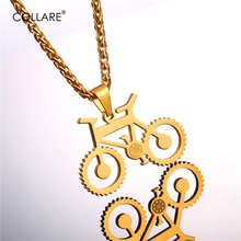 Collare Steampunk Bicycle Pendant Streetwear Jewelry Gold/Black Color Stainless Steel Hippie Bike Necklace For Fitness Men P025