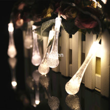 New type little drop water 2M 20Ball/set warm white LED Christmas lights / wedding/party/holidy lamps 4.5V with battery box(China)