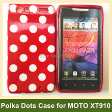 Newest Polka Dots Soft TPU Gel Cover Case for Motorola RAZR XT910 Free Shipping