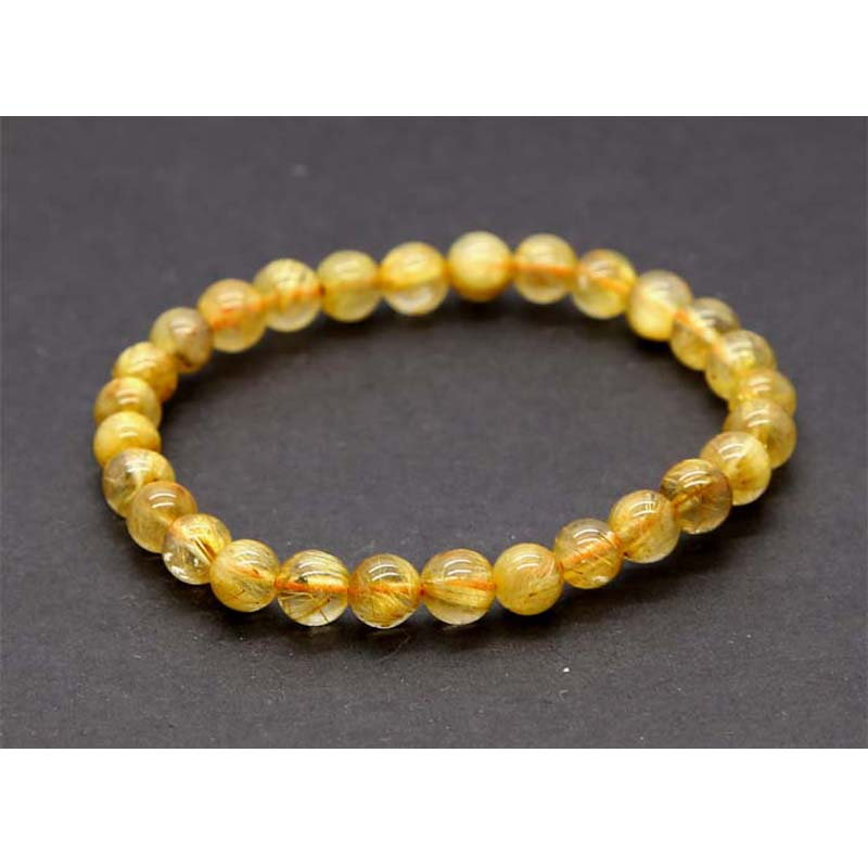 """6mm Fashion round gemstone beads stretchable bracelet 6.5/"""""""