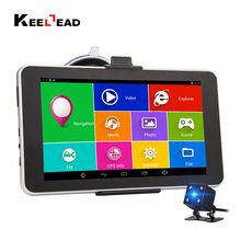Keelead 7 inch Capacitive Car GPS Navigation Android 4.4.2 Bluetooth WIFI MT8127 Quad Core 16GB navigator Russia Europe USA map