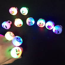 2017 Led Clothes 10pcs Kids Toy Led Flashing Light Smile Ring Blinking Party Soft Rave Glow Jelly Finger Rings Supply Event(China)