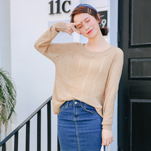 Real shot 2017 fashion autumn new vertical stripes perspective mesh sweater blouse 8675