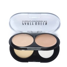 Professional Face Makeup Creamy Concealer Beauty Foundation Cream +Loose Powder Natural Palette