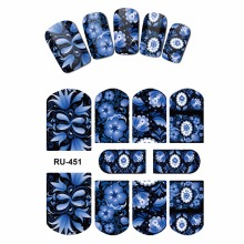 NAIL ART BEAUTY STICKERS WATER DECAL SLIDER FLOWER VINE GREEN LEAF RATTAN DARK CHINA BLUE RU451-456(China)