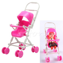 Pink Baby Stroller Infant Carriage Stroller Trolley Nursery Toys Furniture for Barbie Doll Gifts for Baby Girls Free shipping