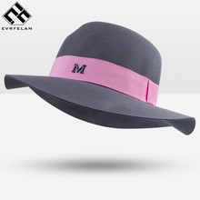 New Fashion Women Felt Hat For Wool Felt Fedora Hat Brand Bowler Hat Fedora Dome For Women Cap Soft Chapeau Female Winter Spring(China)