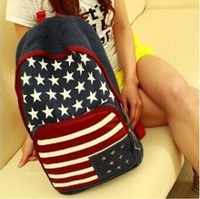 Unisex Canvas teenager School bag American US UK Flag Star-Spangled Banner Campus Backpack bags Schoolbag B5(China)