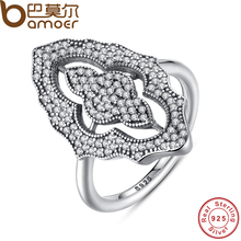 BAMOER 2017 New Collection Authentic Sparkling Lace Stunning Ring with Clear CZ Ring 100% 925 Sterling Silver Jewelry PA7153