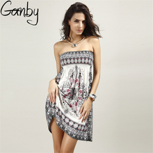 Ganby India Hot Sale Bohemian Summer Style Plus Size Casual Women Dresses Print Wrapped Chest Silk Dress Backless Sexy Dress(China)