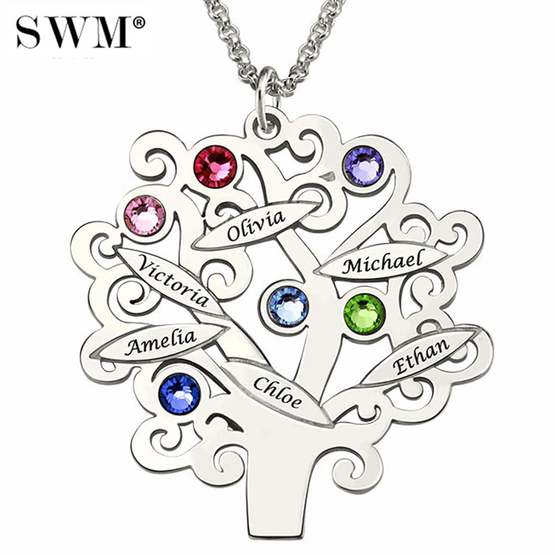 Custom Name Necklace Family Tree of Life Letter Necklaces Birth Stone Jewelery Silver 925 Chain Vintage Gift for Grandmas Mom