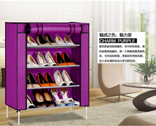 Charm Purple 3 steps non-woven fabric dustproof and wet proof utility shoes cabinet storages racks folding(China)