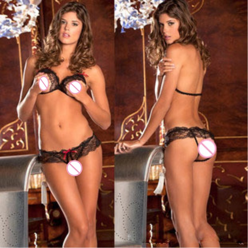 Women Baby Doll Sexy Bra Panty Lace Bow-Knot Erotic Lingerie Open Bra+G-String Bikini Intimo Donna Sexy Hot Costumes(China)