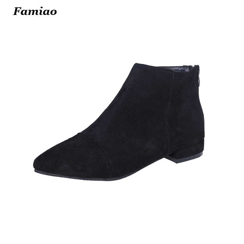 2017 fall winter women ankle boots suede leather pointed toe martin booties fashion ladies shoes<br><br>Aliexpress