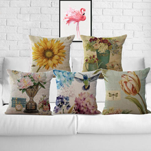 Factory Supply European Style Retro Vase Printing Linen Cotton Pillow Case Cushion Cover For Home Accessories 45*45 Cm(China)