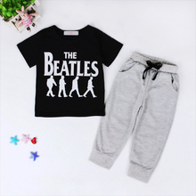 2017 Hot Boys summer clothes sets children letter T-shirt pants kids sport suits