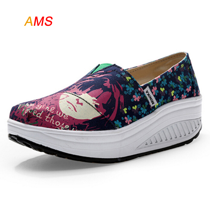 HOT SALL New Graffiti Girls Face Canvas Shoes For Women Platform Slip On Shoes For Women Zapatos Mujer Wedge  feminino<br><br>Aliexpress