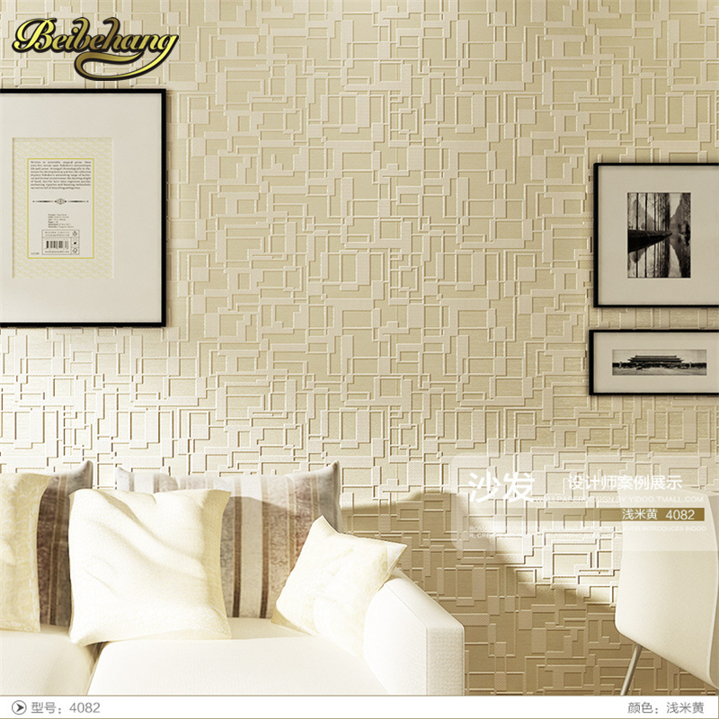 beibehang Modern and simple geometric non-woven wallpaper bedroom living room upscale thick 3D stereoscopic television video <br>
