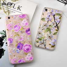 USLION Fashion Floral Matte Phone Case For iPhone 6 6s Plus Ultrathin Peach Blossom Soft TPU Cases Back Cover For iPhone 6 Plus