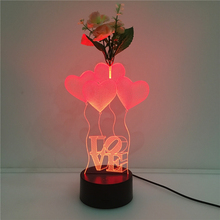 2017 USB night light 7 discoloration LED LOVE balloon flower arranging 3D light touch acrylic lamp bedroom living room lighting(China)