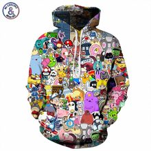 Mr.1991INC Anime Hoodies Men/Women 3d Sweatshirts With Hat Hoody Unisex Anime Cartoon Hooded Hoodeis Fashion Brand Hoodies(China)
