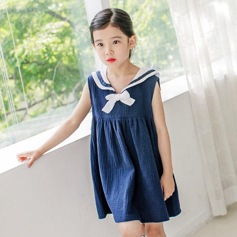 Kids Princess blue dress lovely girl summer sleeveless dress with Bow linen + cotton 1608<br><br>Aliexpress