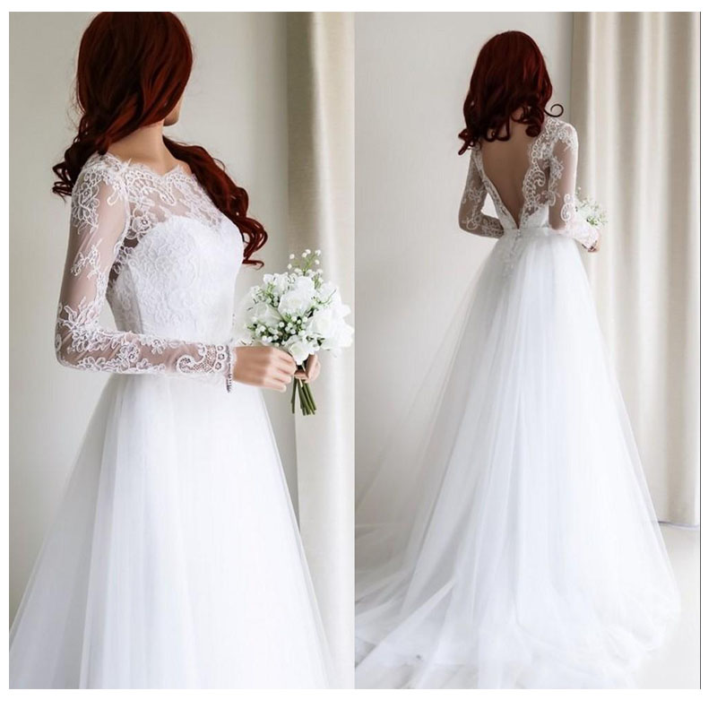 LORIE Wedding Dress 2019 Long Sleeves  Appliques Lace Beach Bride Dress  Sexy See Through Back White Ivory Wedding Gown