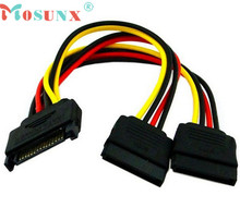 Ecosin2 Mosunx 2017 15Pin SATA Male Plug To 2 Female 15Pin Power HDD Splitter Connector Cable 17Mar15
