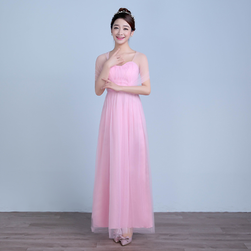 Fashion long girl party wedding bridesmaid princess formal pink lace gown for teenagers<br><br>Aliexpress