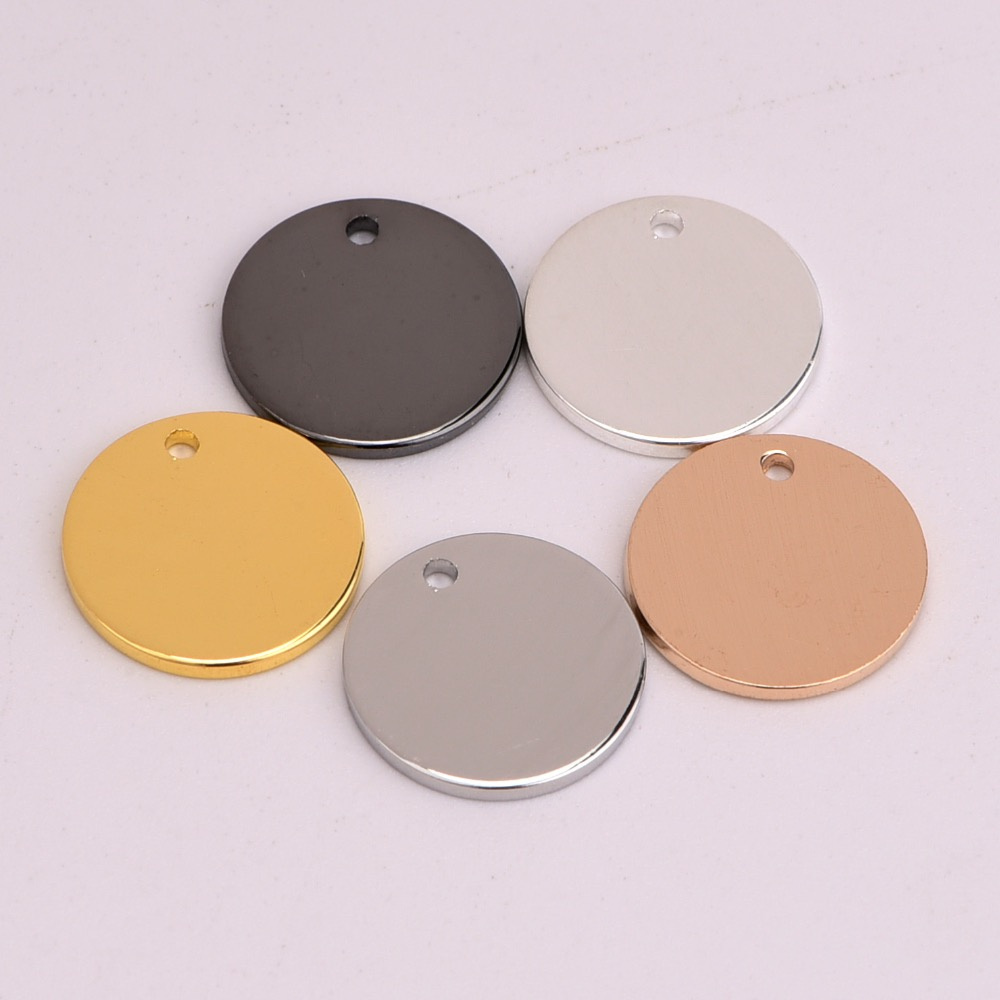 100 or 50pcs Plated Brass 15mm Flat Round Coin Drop Circle Stamping Charm Blank