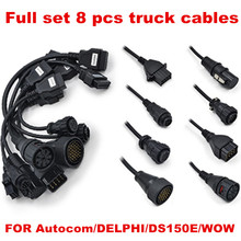 Latest Full set 8 pcs truck cables obd2 diagnostic OBD OBDII OBD 2 connecter for Autocom DELPHI DS150E WOW CDP Pro free shipping(China)
