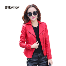 Buy Fashion 2017 Autumn Turn Collar Short Leather Jacket Womens Motocycle Cool Outwear 3 Solid Color Zipper Faux Leather Coat for $41.24 in AliExpress store