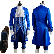 Beauty and the Beast Costume Beast Cosplay Blue Gentleman Outfit Adult Men Halloween Carnival Clothing 2017 Movie Custom Made