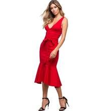 Aphrodite Home Summer Dress Women Dress Sleeveless V-neck Sashes High Waist  Mermaid Dress Sexy Hollow Out Red Party Dress Female 9f422d30d32f