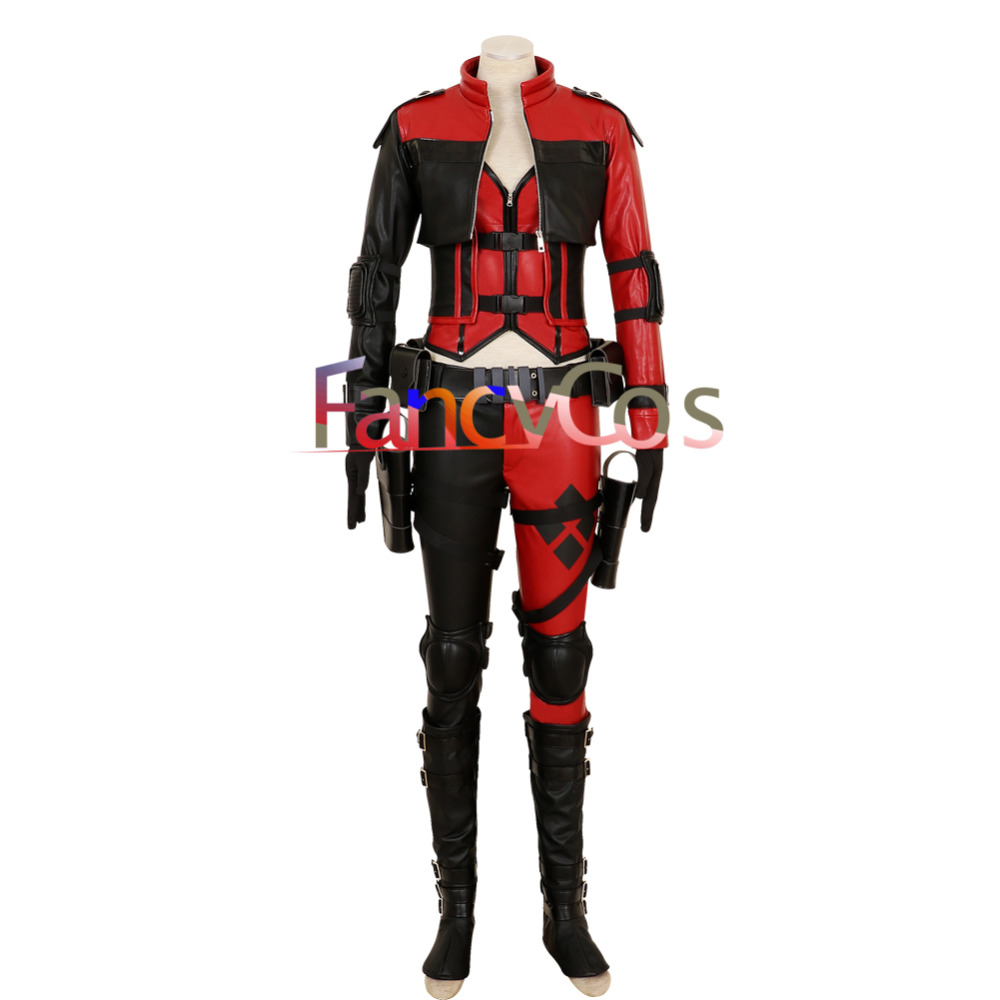 Halloween Women Injustice 2 Harley Quinn Costume Harleen Quinzel Cosplay PU Leather Cosplay Costumes Adult  Movie High Qualit