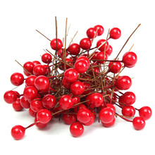 100Pcs/Lot Artificial Berry Artificial Red Holly Berry Berries 10mm Home Bouquet Christmas Decoration