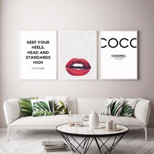 Buy Modern Home Decor Letter Red Lips Canvas Painting Fashion Wall Picture Living Room COCO Poster Print Nordic Wall Art for $4.26 in AliExpress store